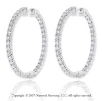 14k White Gold 3.00 Carat Diamond 1 5/8^ Hoop Earrings
