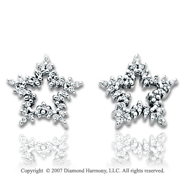 14k White Gold Star 1/3 Carat Diamond Button Earrings