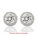14k White Gold Elegant 2 Carat Diamond Halo Earrings
