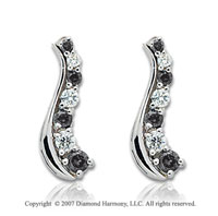 14k White Gold Slender 2 Carat Black Diamond Drop Earrings