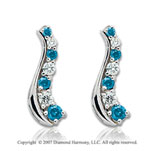 14k White Gold Slender 2 Carat Blue Diamond Drop Earrings