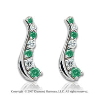 14k White Gold Slender 2 Carat Green Diamond Drop Earrings