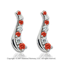 14k White Gold Slender 2.00 Carat Red Diamond Drop Earrings