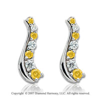 14k White Gold Slender 2 Carat Yellow Diamond Drop Earrings