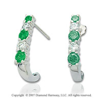 14k White Gold Prong 1.00 Carat Green Diamond Drop Earrings