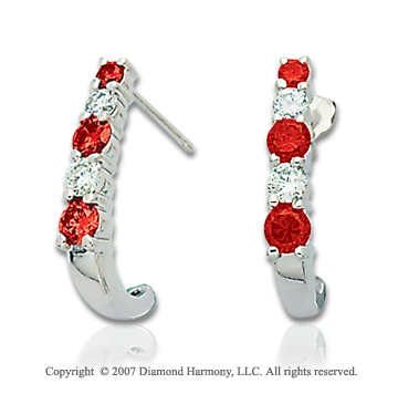 14k White Gold Prong 1.00 Carat Red Diamond Drop Earrings