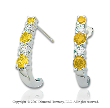 14k White Gold 1.00 Carat Yellow Diamond Drop Earrings