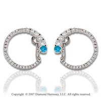 14k White Gold 1 1/3 Carat Blue Diamond Earrings