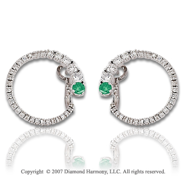 14k White Gold 1 1/3 Carat Green Diamond Earrings