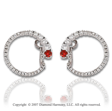 14k White Gold 1 1/3 Carat Red Diamond Earrings
