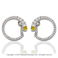 14k White Gold 1 1/3 Carat Yellow Diamond Earrings