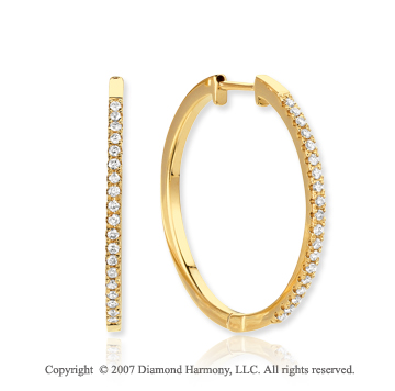 14k Yellow Gold Prong 1/3 Carat Diamond Hoop Earrings