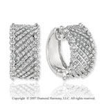 14k White Gold Prong 2.10 Carat Diamond Hoop Earrings