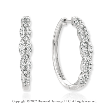 14k White Gold Prong 1.00 Carat Diamond Hoop Earrings