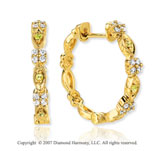 14k Yellow Gold Sapphire 1/5 Carat Diamond Hoop Earrings