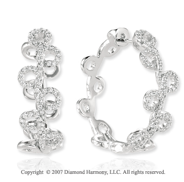 14k White Gold Prong 0.70 Carat Diamond Hoop Earrings