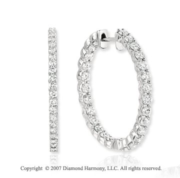 14k White Gold Prong 3.00 Carat Diamond Hoop Earrings