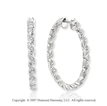14k White Gold Pave 1/5 Carat Diamond Hoop Earrings