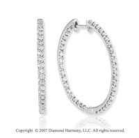 14k White Gold Prong 1 1/3 Carat Diamond Hoop Earrings