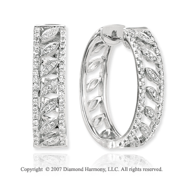 14k White Gold Pave 2/3 Carat Diamond Hoop Earrings