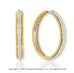 14k Two Tone Gold Prong 1 1/3 Carat Diamond Hoop Earrings