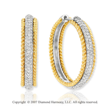 14k Two Tone Gold Round 1.10 Carat Diamond Hoop Earrings