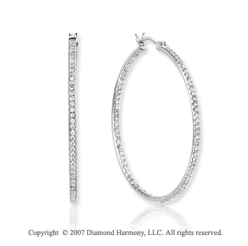 14k White Gold Prong 1.10 Carat Diamond Hoop Earrings