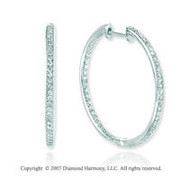 14k White Gold Prong 3/4 Carat Diamond Hoop Earrings
