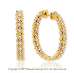 14k Two Tone Gold Prong 1/3 Carat Diamond Hoop Earrings