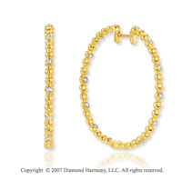 14k Yellow Gold Bezel 1/5 Carat Diamond Hoop Earrings
