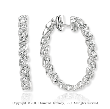 14k White Gold Pave 1/2 Carat Diamond Hoop Earrings