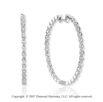 14k White Gold Prong 0.30 Carat Diamond Hoop Earrings