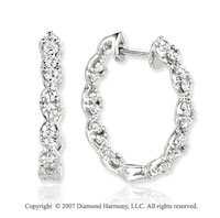 14k White Gold Round 0.90 Carat Diamond Hoop Earrings