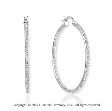 14k White Gold Round 1.00 Carat Diamond Hoop Earrings