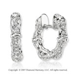 14k White Gold Prong Round Diamond Huggie Earrings