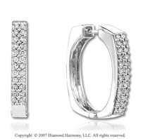14k White Gold Round 3/4 Carat Diamond Hoop Earrings