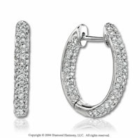 14k White Gold Round Prong 1.00 Carat Diamond Hoop Earrings
