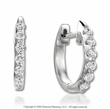 14k White Gold Bar 2/5 Carat Diamond Huggie Earrings