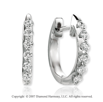 14k White Gold Bar 3/4 Carat Diamond Huggie Earrings