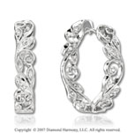 14k White Gold Prong 0.10 Carat Diamond Hoop Earrings