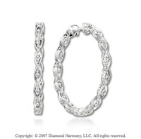 14k White Gold Classy Round 2/5 Carat Diamond Hoop Earrings