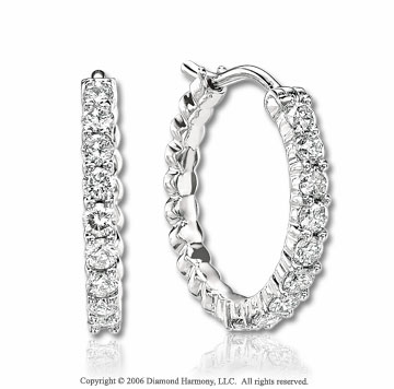 14k White Gold Prong 0.75 Carat Diamond Hoop Earrings