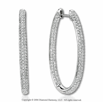 14k White Gold Prong 2 1/2 Carat Diamond Hoop Earrings