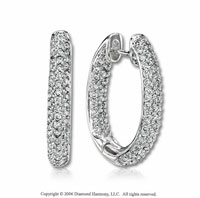14k White Gold Round 1 1/5 Carat Diamond Hoop Earrings