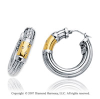 18k Yellow Gold Sterling Silver Diamond Hoop Earrings