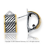18k Yellow Gold Sterling Silver Elegant Huggie Earrings