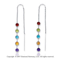14k White Gold Bezel Round Multi Stone Fashion Earrings