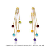 14k Yellow Gold Fine Bezel Round Multi Stone Earrings
