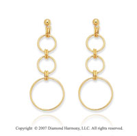 14k Yellow Gold Push Back Stylish Three Circle Earrings