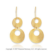14k Yellow Gold Paola Style Circle Drop Earrings